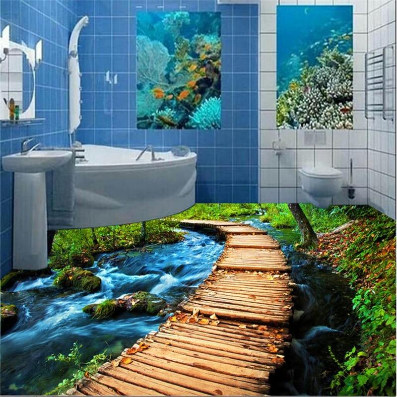 beibehang Custom Photo Floor Painting Wall Stickers Seawater River Wooden Bridge 3D Bathroom Floor Painting papel de parede