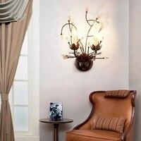 Crystal Wall Lamp Sretro Vintage Metal Wall Lamp Home Lighting Crystal Wall Lights hallway 2 Head E14 Led Light Fixtures