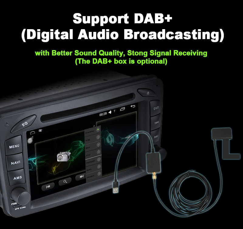 Digital Audio Broadcasting (DAB+) for car audio stereo media system gps DVD player