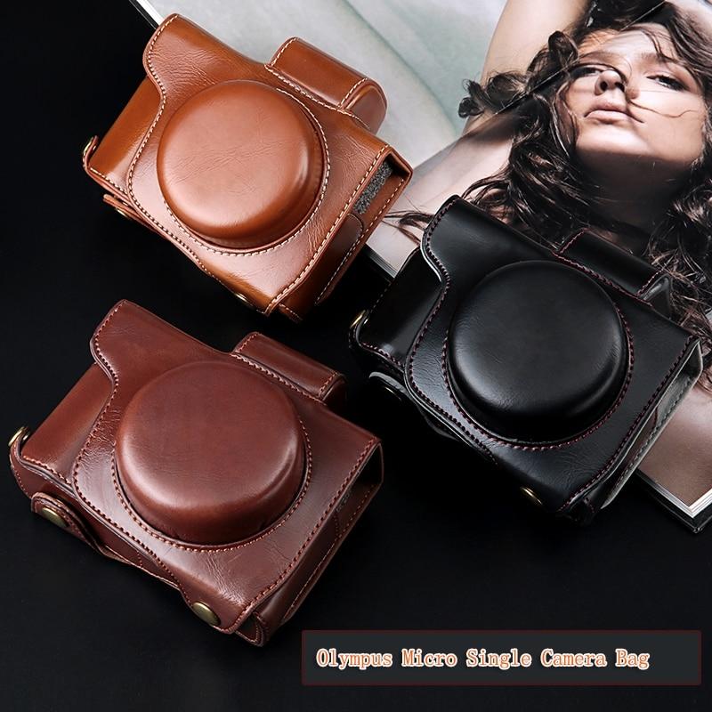 Edição de luxo PU LEATHER Camera Case Capa Bag Para Olympus E-M10 EM10 Mark II III EM5 II E-PL7 E-PL8 EPL7 EPL8 PEN-F e strap