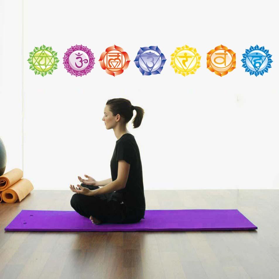 Chakras Vinyl Stickers (set of 7 pieces)- Health Aum Meditation Yoga Om Meditation Symbol Art Wall Decals home decoration