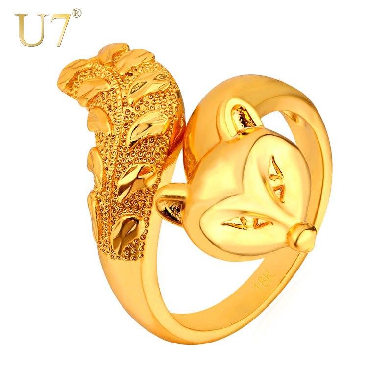 U7 moda animal anel para as mulheres jóias ouro/prata cor na moda legal festa fogo raposa anel atacado r437