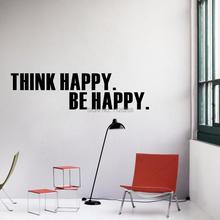 Autocollants muraux en vinyle pense Happy Be heureux citation   Autocollant dart, papier peint amovible pour décoration de salon de maison
