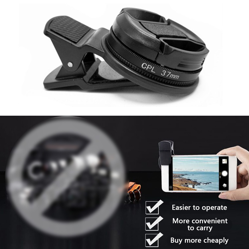 37mm circular com clipe polarizador cpl filtro câmera universal grande angular preto acessórios telefone portátil lente profissional
