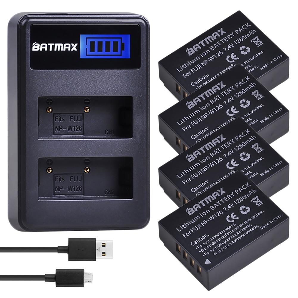 4Pcs 1260mAh NP-W126 NP W126 NPW126 Batterien + LCD Dual Ladegerät für Fujifilm FinePix HS30EXR, HS33EXR, x-Pro1, X-E1, X-E2, X-M1