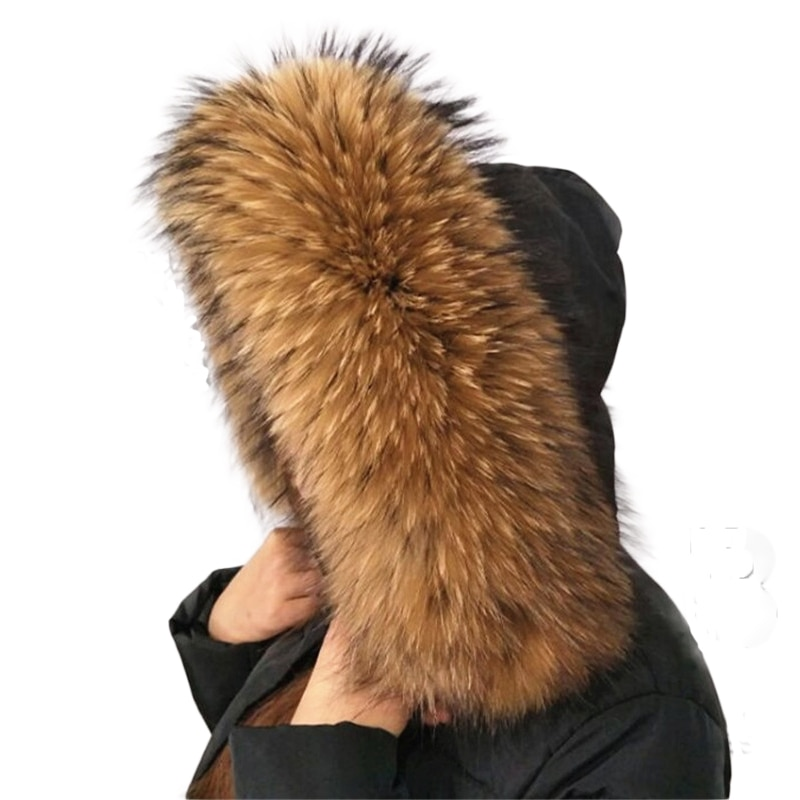HSPL Real Fur Scarf For 2019 Woman Raccoon Fur Collar For Hood Women Natural Winter Scarves Luxury W