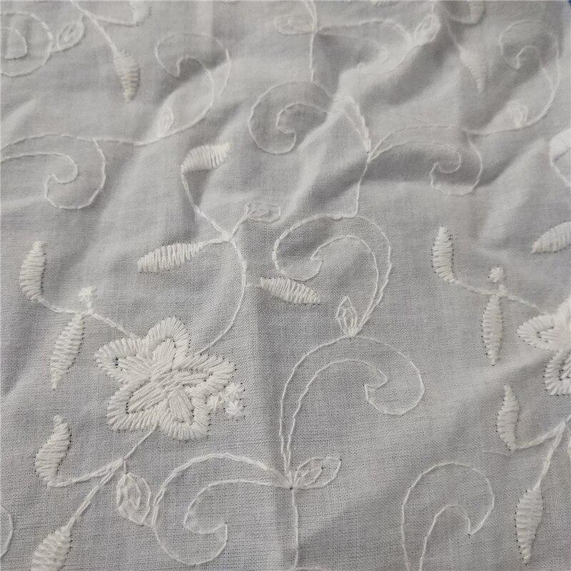 5 yardas al por mayor bordado encaje tela galería de tela de Color blanco tela de algodón encaje bordado flor diseño tela de algodón