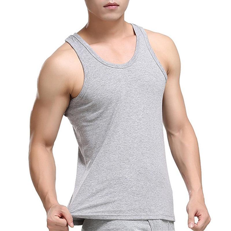 Men Casual Tank Top Cotton Tank tops Sleeveless Tees Black White Gray Tanks Undershirt Quick Dry Boys Vest For Male Tanktop