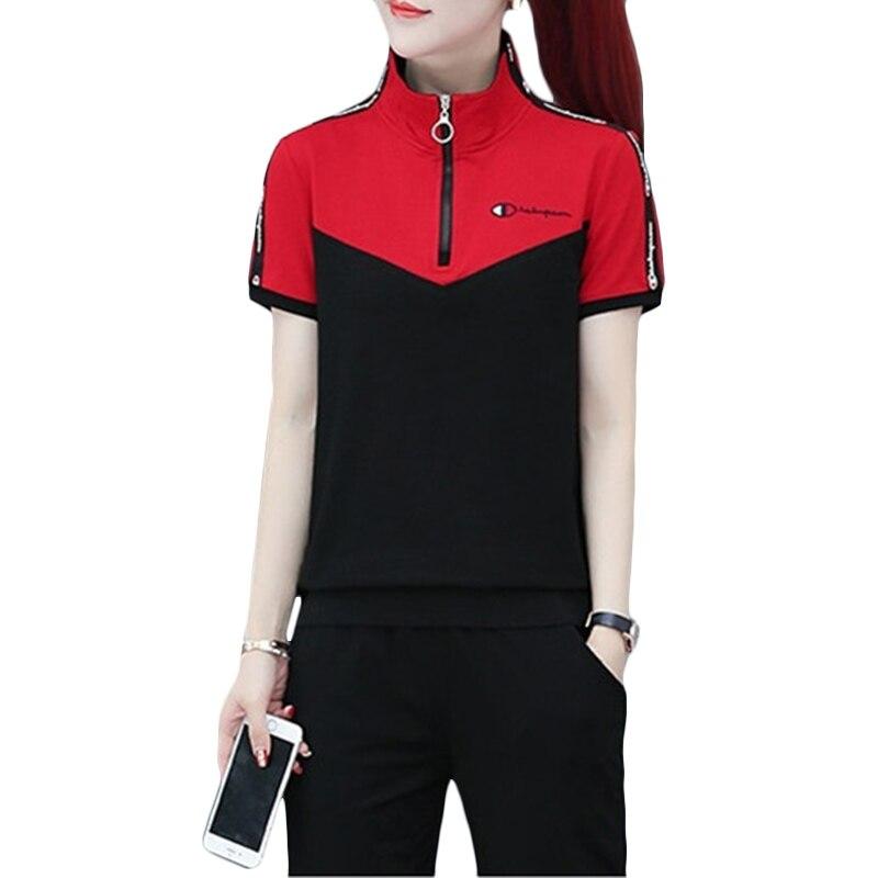 Nuevo 2019 verano Casual traje de Deportes de las mujeres vivero uniformes Sets de batas de las mujeres de manga corta pantalones de dos piezas conjuntos F329