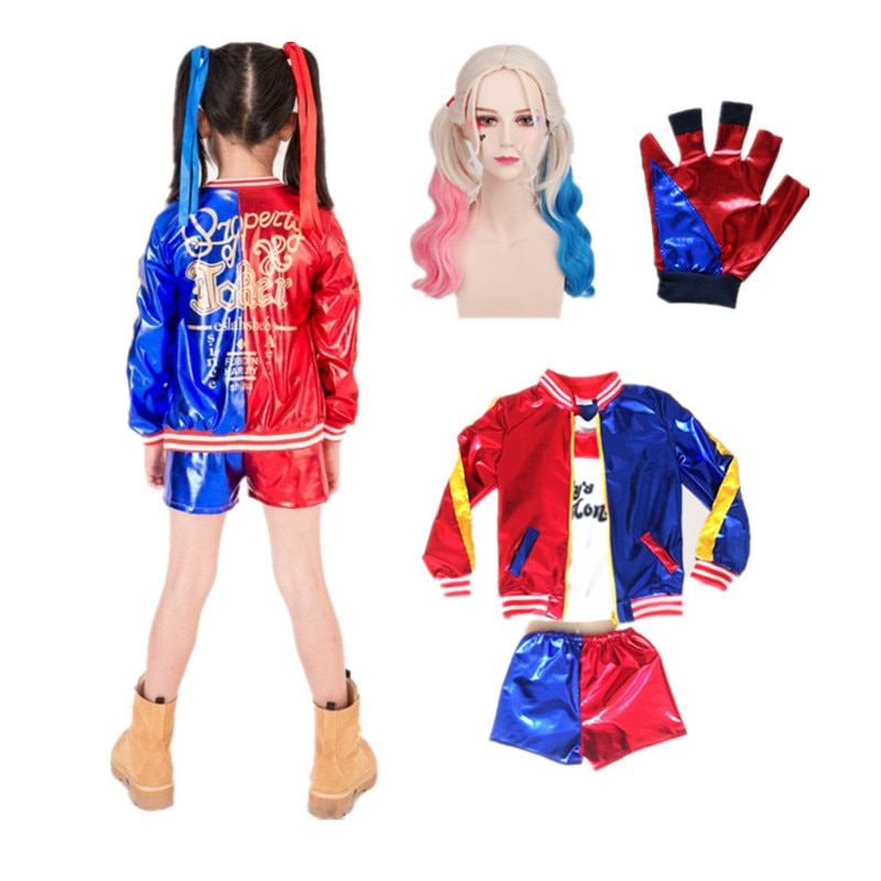 Carnival Harleen Quinzel Suicide Cosplay Costumes Squad Quinn Monster Kids Girls Party Joker Jacket