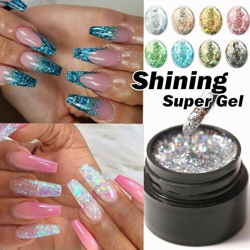 5ml Glitter UV Gel Nail Polish Super Shining Platinum Paint Nail Gel Varnish Dazzling Sparkling Hybrid Nail Art Led Gel Polish