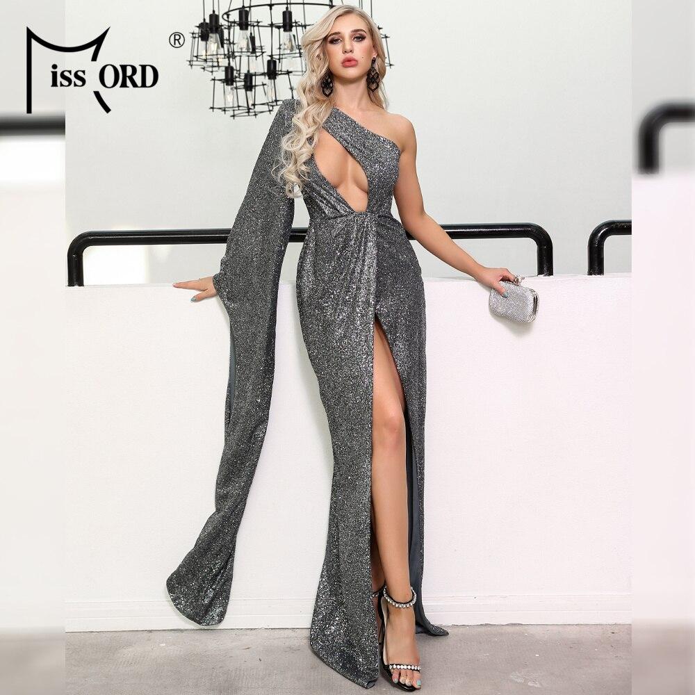 Missord 2020 mujeres Sexy Irregular cuello de hombro de manga larga vestidos de purpurina femenina alta Split vestido largo FT19530