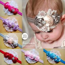 2016 hot sell Children ribbon roses lace girls hair accessory  baby headband flower headband  30pcs/lot