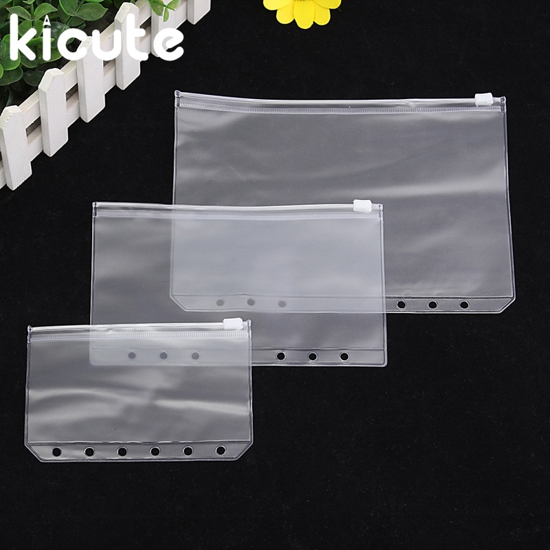 Archivo transparente de PVC Kicute A5 A6 A7, organizador de cosas pequeñas para 6 agujeros, carpeta espiral de hoja suelta, cuaderno, Agenda, Filofax