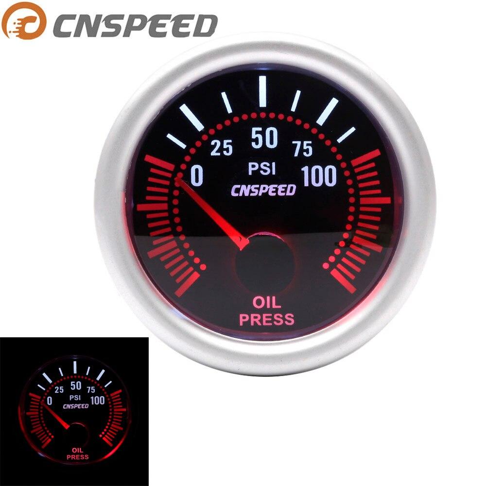 "Auto Auto Öl Manometer 0 ~ 100 PSI 2 ""52mm Universal Weiß LED Smoke Len 12 V öl Presse Meter mit Sensor 1/8NPT YC101314"