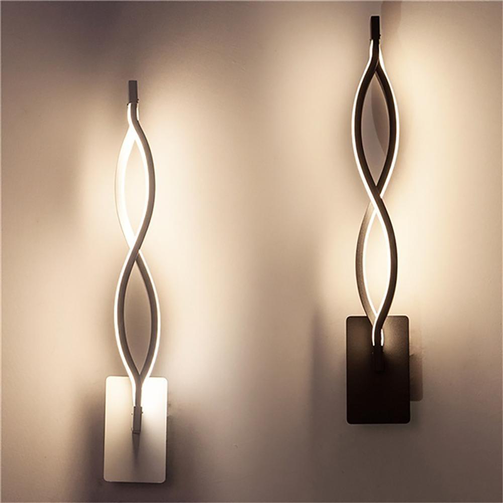 Современные волнистые настенные светильники, настенные бра, светильники, прикроватные лестницы, Декор, лампа зеркальные тумбочки прикроватные