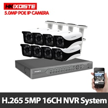 H.265 16CH 5 mp POE NVR   Système de sécurité CCTV, 8 pièces, IR, intérieur extérieur, 5,0 mp, caméra IP POE, Kit de vidéosurveillance P2P, disque dur 4 to