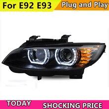 تصفيف السيارة لسيارات BMW M3 E92 E93 2006-2012 المصباح لسيارات BMW 335i رئيس مصباح السيارات LED DRL شعاع مزدوج H7 HID زينون ثنائية زينون عدسة