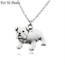 Fei Ye Paws Punk English Bulldog Dog Pet Pendant Necklace for Women Men Jewelry Chocker Girls Gift Stainless Steel Long Chain