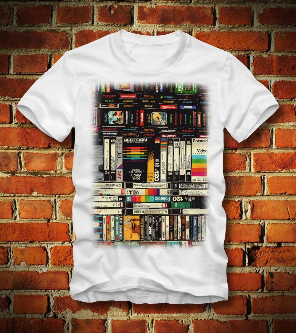 Camiseta Vhs 80Er 80S Retro Cassette Tapes Kassette juegos Stranger Things Design camiseta 2019 nueva letra de Impresión en línea