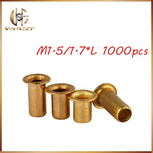 Remache 1000 Uds M1.5/1,7 * L cobrizo hueco remache 0,9mm marca de doble cara placa de circuito PCB vias clavos/latón