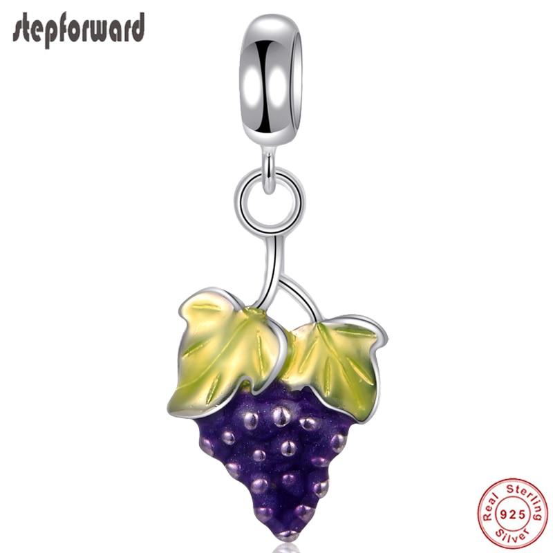 DIY Grape Fashion Fruit Design 925 Sterling Silver Grape Hanging Charm For Bracelet And Necklace Pendants