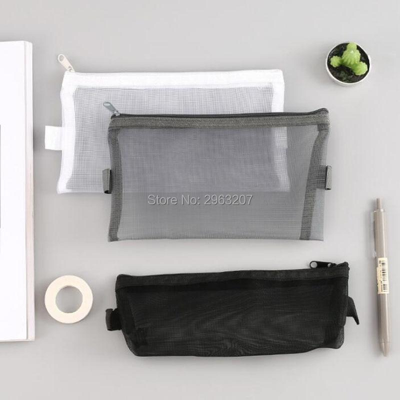 200 Uds caja de lápices de malla transparente Simple bolsa de almacenamiento de maquillaje cosmético de Nylon para mujeres lápiz labial soporte de transporte