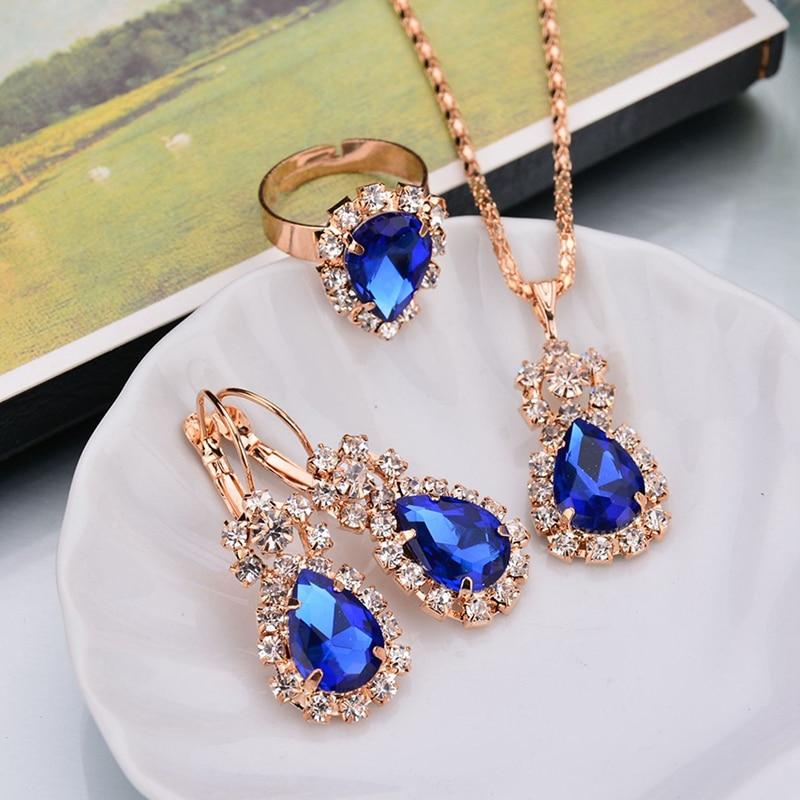 Conjunto de joyería de 6 colores pendientes de aro pendientes de gota de agua conjunto de joyería rojo diamantes de imitación para COLLAR COLGANTE de las mujeres/pendientes/anillos