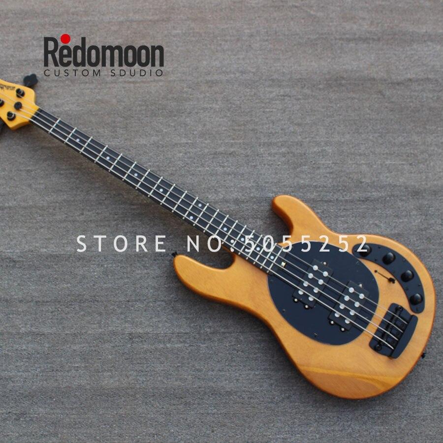 Personalizado de fábrica 4 cuerdas Music Man bajo ébano diapasón bajo eléctrico guitarra caoba cuerpo instrumento musical tienda