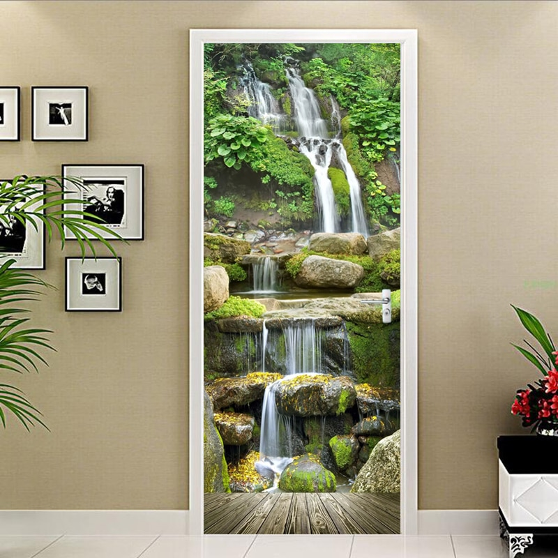 3D papel de pared moderno paisaje con cascadas murales de fotos sala de estudio puerta de la etiqueta de la decoración del hogar impermeable de PVC papel de pared