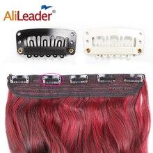 Tissage en lot dextensions de cheveux à Clip-Alileader   Cheveux naturels, frange avant, peigne en acier noir blanc, 20 pièces/lot