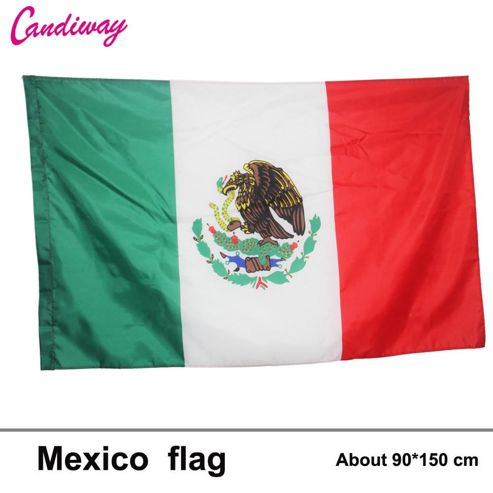 3X5 pies poliéster bandera de México país mexicano pancarta Interior Exterior decoración del hogar Bandera de poliéster 90X150cm