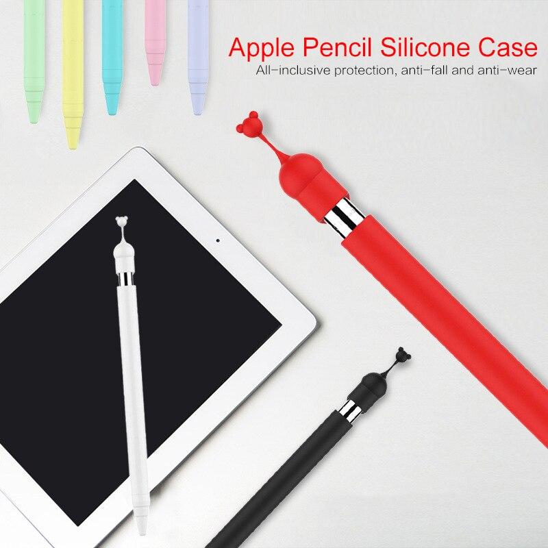 Funda de silicona Multicolor para lápiz Apple, funda protectora de silicona antideslizante con dibujos, funda protectora con tapa de pluma