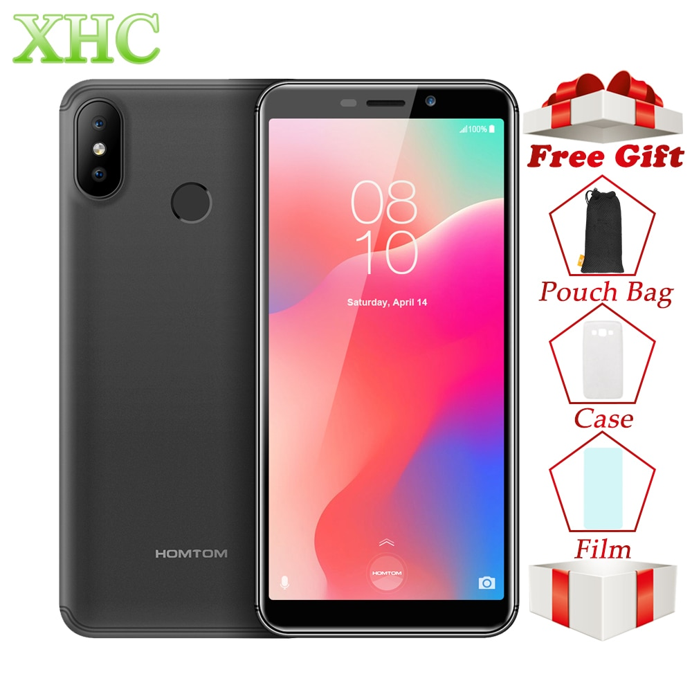 HOMTOM C1 móvil de 5,5 pulgadas teléfonos Android 8,1 MT6580A Quad Core RAM 1 GB ROM 16 GB Dual SIM 13MP teléfonos inteligentes 8MP huella digital ID 3G