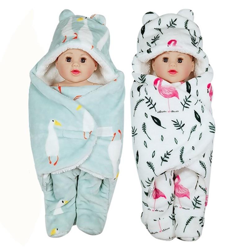 Thicken Blanket Baby Birthday Present Cartoon Newborn Infant Sleep Anti-kick Swaddle Lovely Blanket Flannel Winter Keep Warm