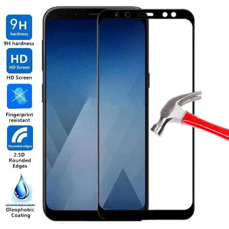 Tempered Glass for Samsung Galaxy A8Plus 2018 Screen Protector full cover Protective Film for A8 Plu