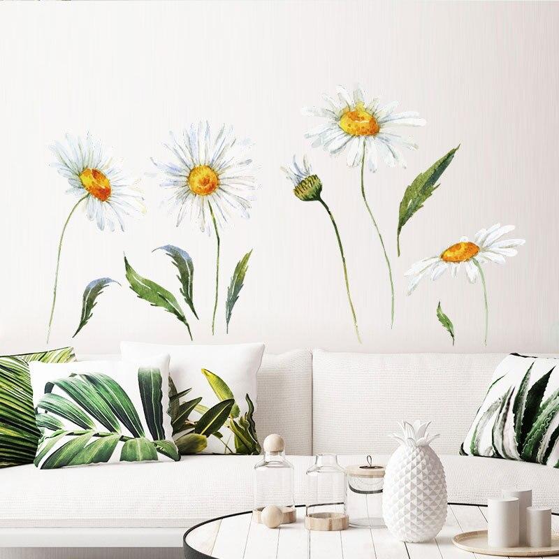 % Papel tapiz de dormitorio póster de arte flores Mural DIY decoración del hogar crisantemo pegatina extraíble pegatinas de pared PVC calcomanía girasoles