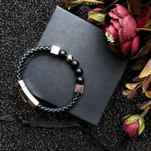 Bracelet Mcllroy hommes/cuir véritable/acier inoxydable/perles de pierre/hommes bracelet or bijoux de luxe mode pulseira masculina
