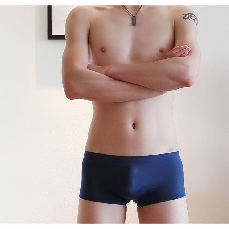 M-XXL oversize gelo seda fina perspectiva shorts homens sexy sheathy bodycon boxers homem respirável sem costura underpant masculino
