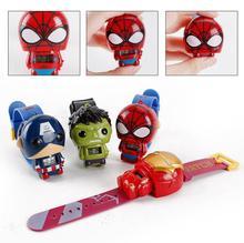 Marvel Super Hero 3D montre numérique électrique The Avengers Captain Amarica Spiderman Hulk Iron Man montre numérique jouets pour enfants