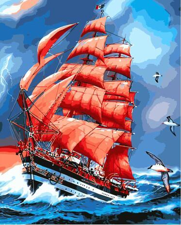 MaHuaf-W1266 escenas de scarlet sails pintura por números lienzo decoración de pared pintura para sala de estar