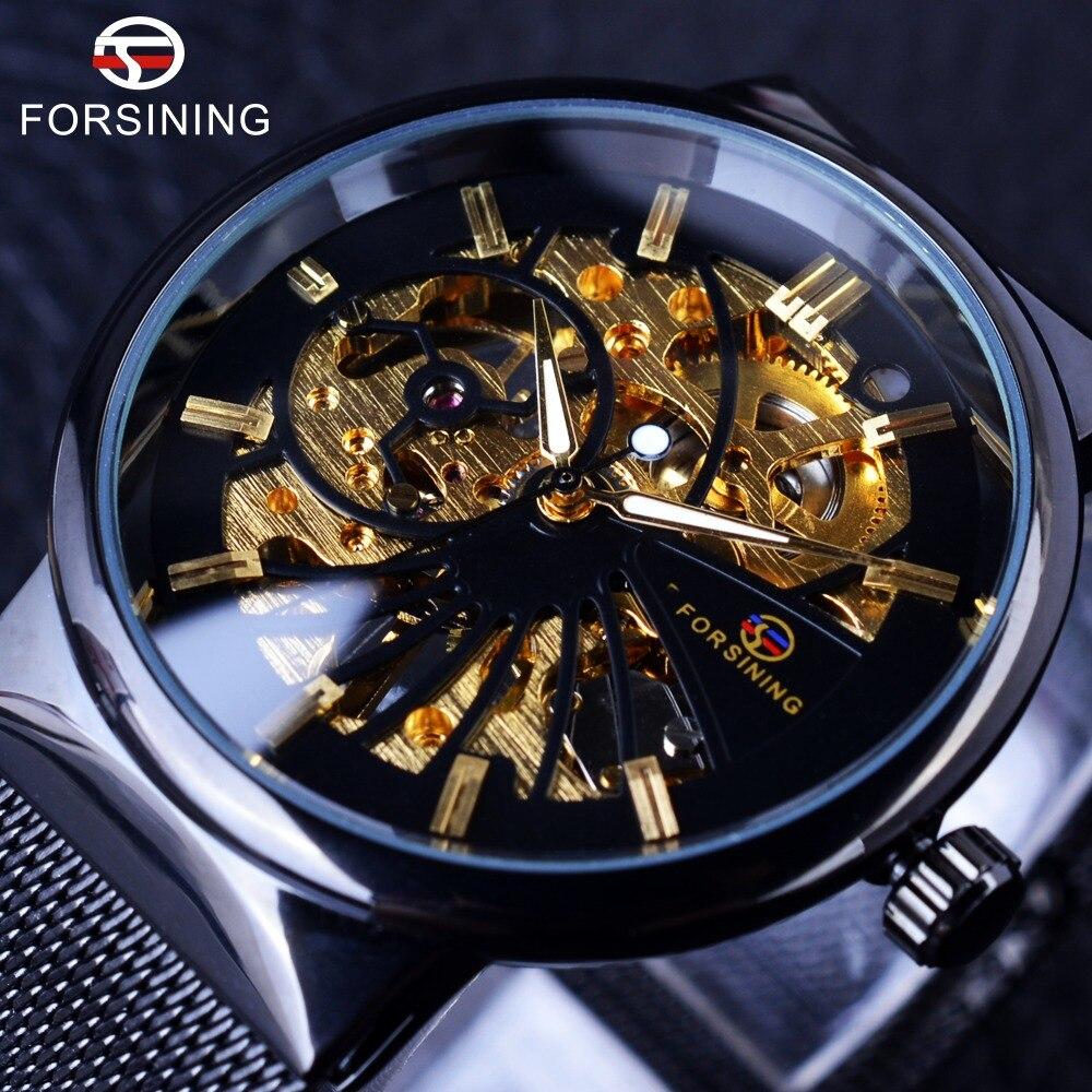 Forsining moda funda Unisex Samll diseño Dial relojes de lujo marca de lujo esqueleto hombres mecánico impermeable D Relojes