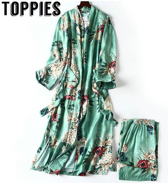 2020 nouvelles femmes couleur verte peignoir Style Kimono Long Vintage imprimé fleuri large jambe pantalon dames rétro tenue