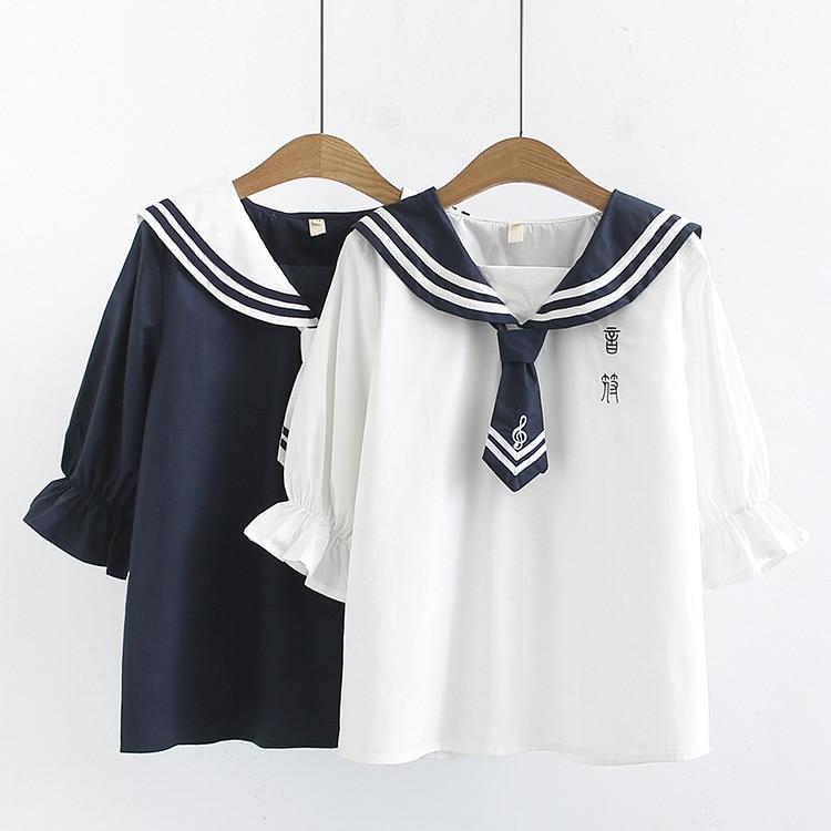 Blusas mulher elegantes ブラウス女性 2020 森ガール夏和風かわいいセーラー襟紺白手紙シャツ