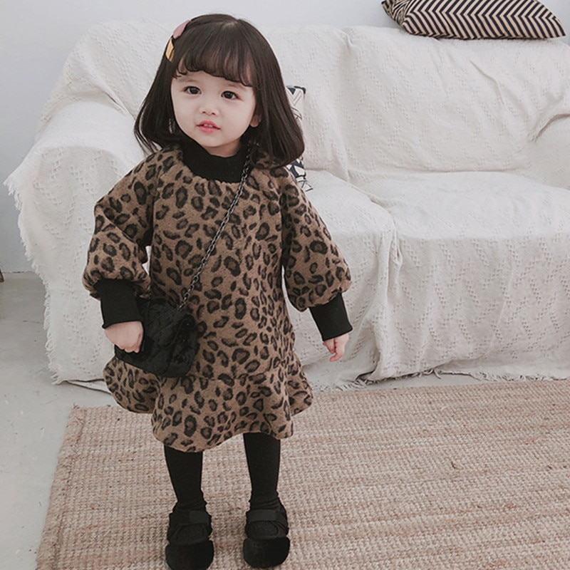 DFXD de invierno coreano niñas vestido 2018 niño niña ropa de leopardo manga larga de terciopelo grueso volantes vestido de princesa 2-8Years