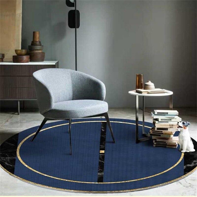 Navy Blue Marble Pattern Round Carpets For Living Room Large Area Rug Bedroom Sofa Decor Non-slip Floor Mat Kids Climbing Tapete