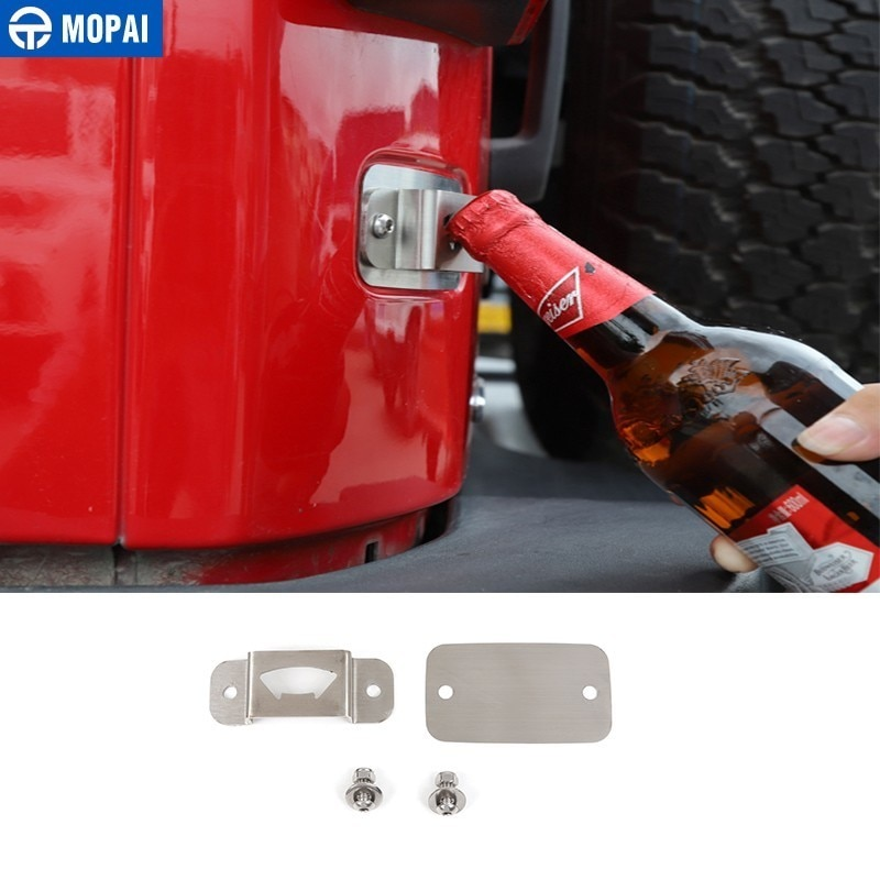 MOPAI Car Beer Bottle Opener for Jeep Wrangler JK Car License Plate Bottle Opener for Wrangler JK 20