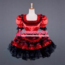 Sexy belle sissy robe de chambre verrouillable uniforme rouge Satin robe cosplay costume sur mesure [G791]