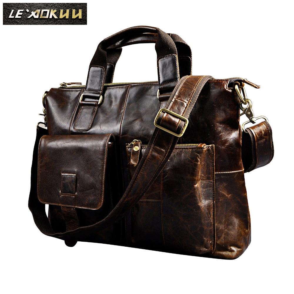 Men Genuine Leather Office Maletas Business Briefcase 15.6