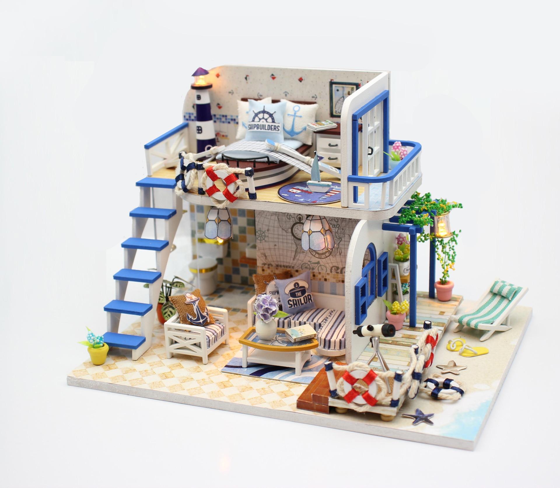 Casa de muñecas en miniatura de madera, Kits creativos DIYFurniture ensamblados a mano, modelos de juguetes, regalo del Día de San Valentín, Costa Azul